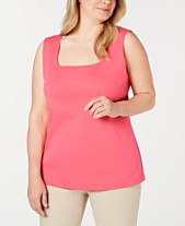 2863cafef Karen Scott Plus Size Cotton Square-Neck Tank Top, Created for Macy's