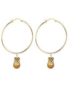 Cubic Zirconia Pineapple Extra Large Hoop Earrings