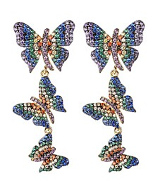 Multi-Colored Cubic Zirconia Butterfly Statement Earring