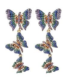 Noir Multi-Colored Cubic Zirconia Butterfly Statement Earring