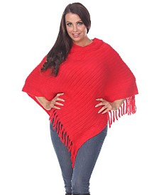 White Mark Women's Meera Fringe Poncho