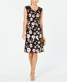 Connected Petite Metallic-Print Sheath Dress