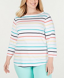 Plus Size Cotton Plaid Boat-Neck Top, Created for Macy's