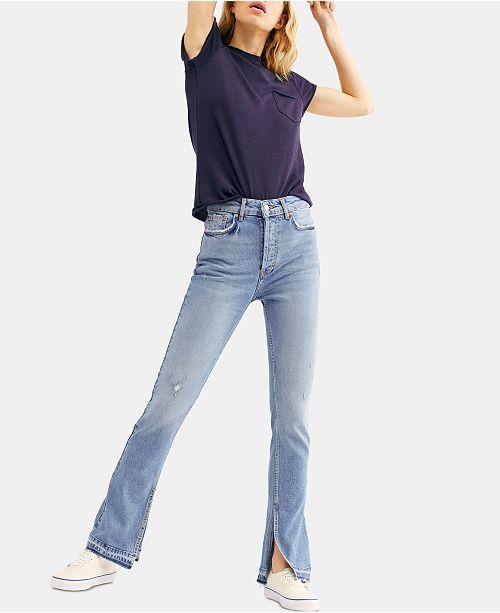 Free People Emmy Slit-Hem Bootcut Jeans