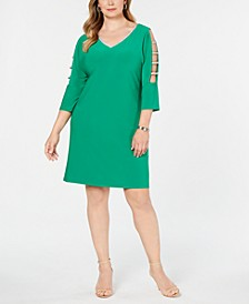 Plus Size Lattice-Sleeve Shift Dress