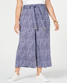 MICHAEL Michael Kors Plus Size Ikat-Print Cropped Pants