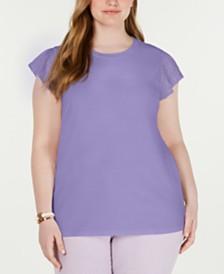 MICHAEL Michael Kors Plus Size Cotton Lace-Sleeve T-Shirt