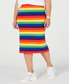 MICHAEL Michael Kors Plus Size Rainbow-Striped Skirt