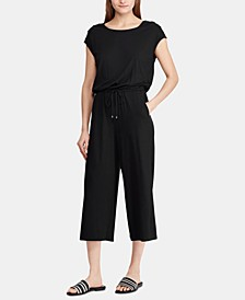 Petite Button-Shoulder Easy Stretch Jumpsuit