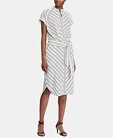Petite Striped Crepe Shirtdress