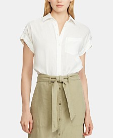 Lauren Ralph Lauren Petite Lace Inset Dolman Sleeve Shirt