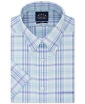 5980b6daad Eagle Men's Button Down Plaid Non-Iron Stretch Short Sleeve Dress Shirt