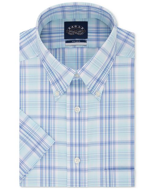 Eagle Men's Button Down Plaid Non-Iron Stretch Short Sleeve Dress Shirt