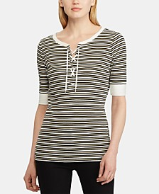 Lauren Ralph Lauren Petite Striped Lace-Up Cotton Top