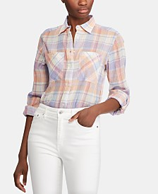 Lauren Ralph Lauren Petite Plaid Roll-Tab Cotton Shirt