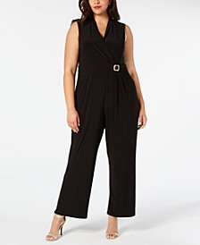 Plus Size Embellished V-Neck Jumpsuit