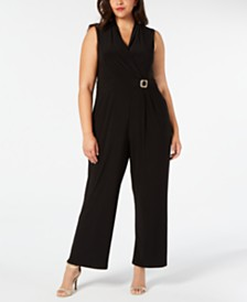Jessica Howard Plus Size Embellished V-Neck Jumpsuit