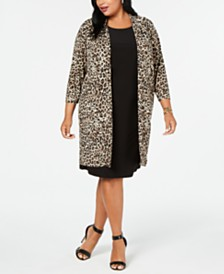 Jessica Howard Plus Size Animal-Print Duster & Shift Dress