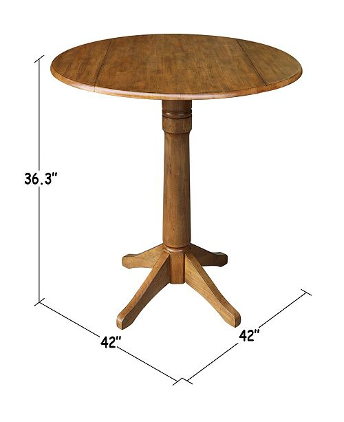 42 Round Dual Drop Leaf Pedestal Table 36 3h Pecan