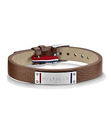 Tommy Hilfiger Men's Silver and Leather Strap Bracelet