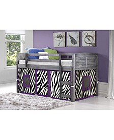 Twin Low Loft Bed with Zebra Tent