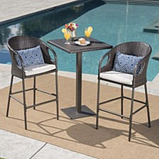Dominica Outdoor 3pc Bar Set, Quick Ship