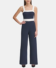 Square-Neck Colorblocked Jumpsuit
