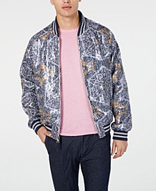 Men's Slim-Fit Sequin Geometric Bomber Jacket