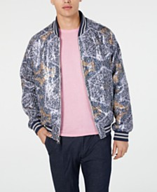 Tallia Men's Slim-Fit Sequin Geometric Bomber Jacket