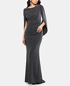 Metallic-Knit Draped Gown