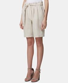 Tahari ASL Linen Tie-Waist Shorts