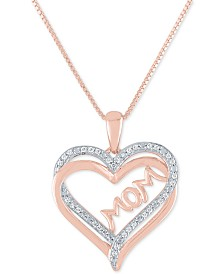"""Diamond Mom 18"""" Pendant Necklace (1/8 ct. t.w.) in 14k Rose Gold Over Sterling Silver"""