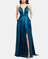 df1c843885c Betsy   Adam Lace-Up Illusion Satin Gown