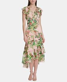 Tommy Hilfiger Floral Chiffon High-Low Maxi Dress