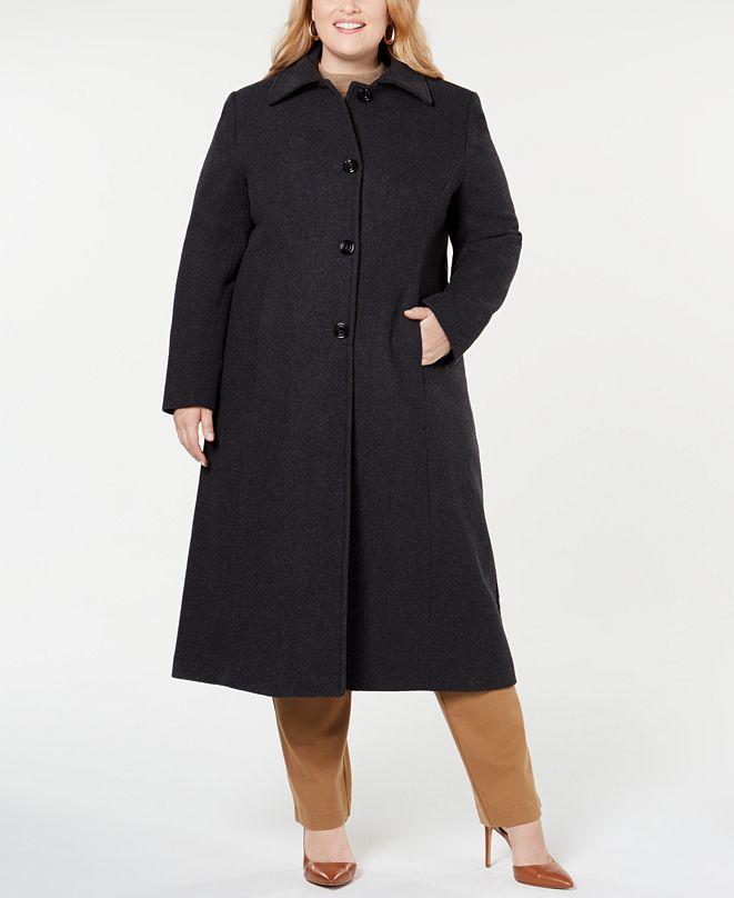 Jones New York Plus Size Notch-Collar Maxi Coat