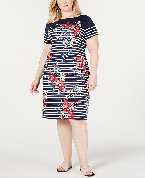 Karen Scott Plus Size Liberty Garden Dress, Created for Macy's