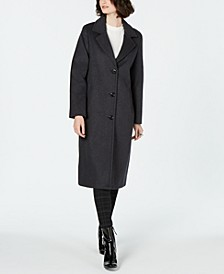 Single-Breasted Notch Collar Reefer Maxi Coat