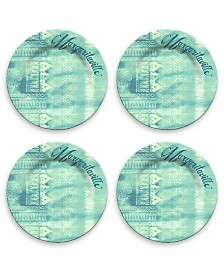 Tarhong Textile Teal Dinner Plate, Set of 4