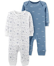 Baby Boys 2-Pc. Printed Cotton Coveralls