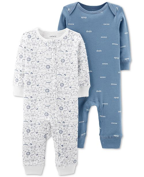Carter's Baby Boys 2-Pc. Printed Cotton Coveralls