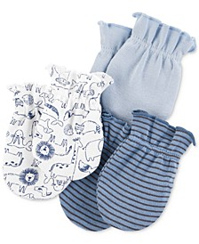 Baby Boys 3-Pk. Printed Cotton Mittens