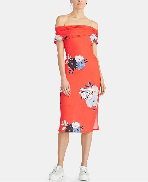RACHEL Rachel Roy Cameo Floral Off-The-Shoulder Bodycon Dress