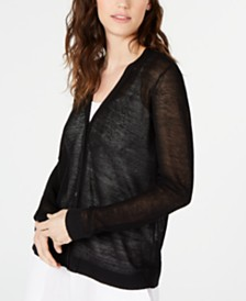 Eileen Fisher Organic Linen Semi-Sheer Cardigan