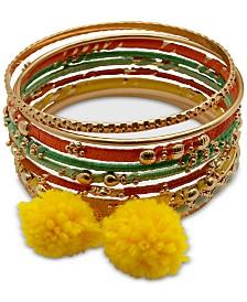 GUESS Gold-Tone 9-Pc. Set Thread Wrapped & Pom-Pom Bangle Bracelets