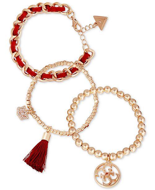 GUESS Gold-Tone 3-Pc. Set Crystal Charm, Bead & Woven Bracelets