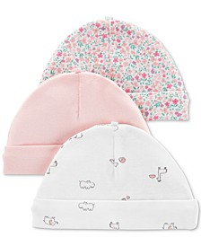 Baby Girls 3-Pk. Floral-Print Cotton Caps