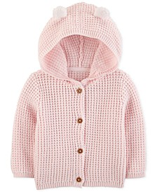 Baby Girls Hooded Cardigan Sweater with 3D Ears