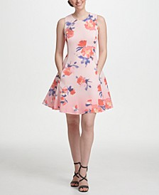 Ombre Floral Mesh Fit & Flare Dress