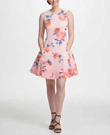 DKNY Ombre Floral Mesh Fit & Flare Dress