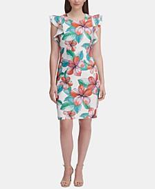 Ruffle-Shoulder Floral Sheath Dress